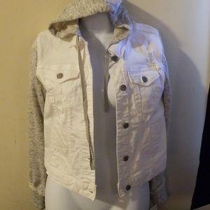 Brand new w tags white denim hooded jacket